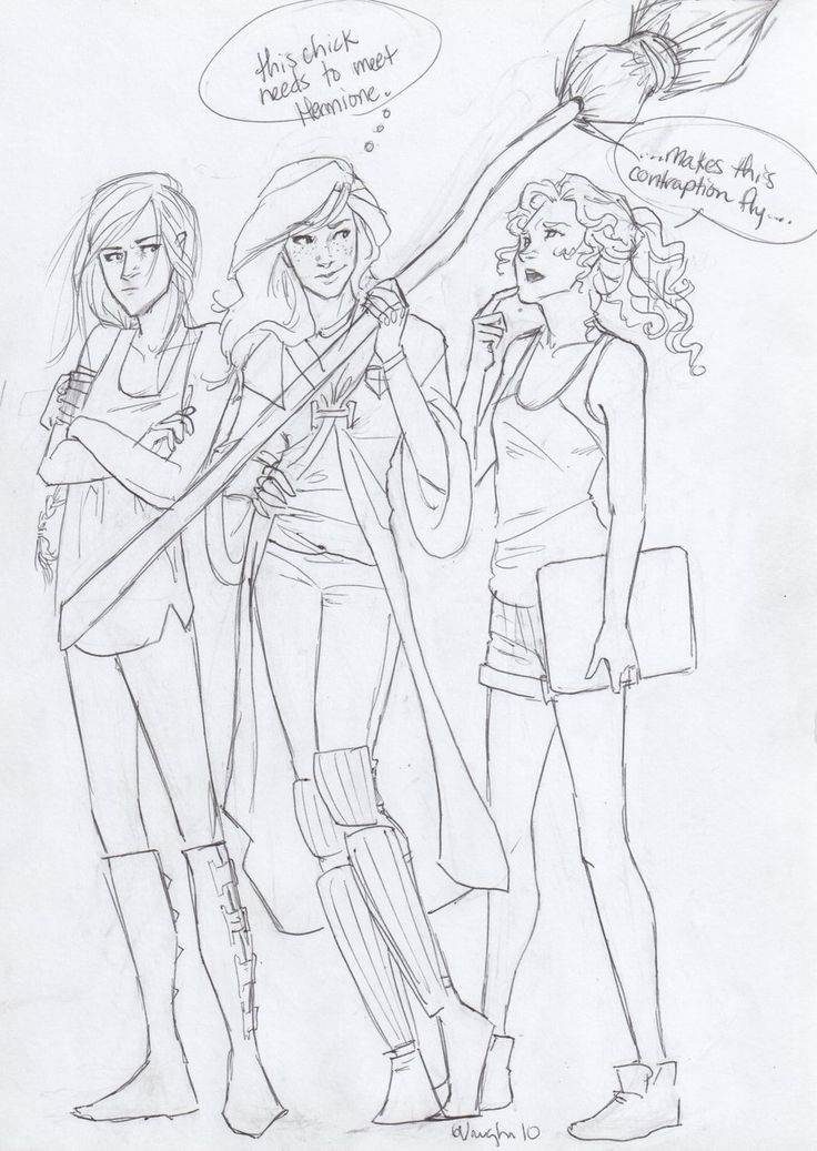 Book Heroines: Katniss Everdeen, Ginny Weasley, Annabeth Chase by http://burdge-bug.deviantart.com/