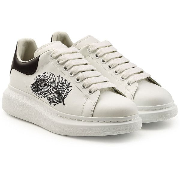 Alexander McQueen Embroidered Leather Sneakers (5.375 NOK) ❤ liked on Polyvore featuring men's fashion, men's shoes, men's sneakers, white, chunky platform shoes, white platform sneakers, leather platform shoes, embroidered shoes and white leather shoes