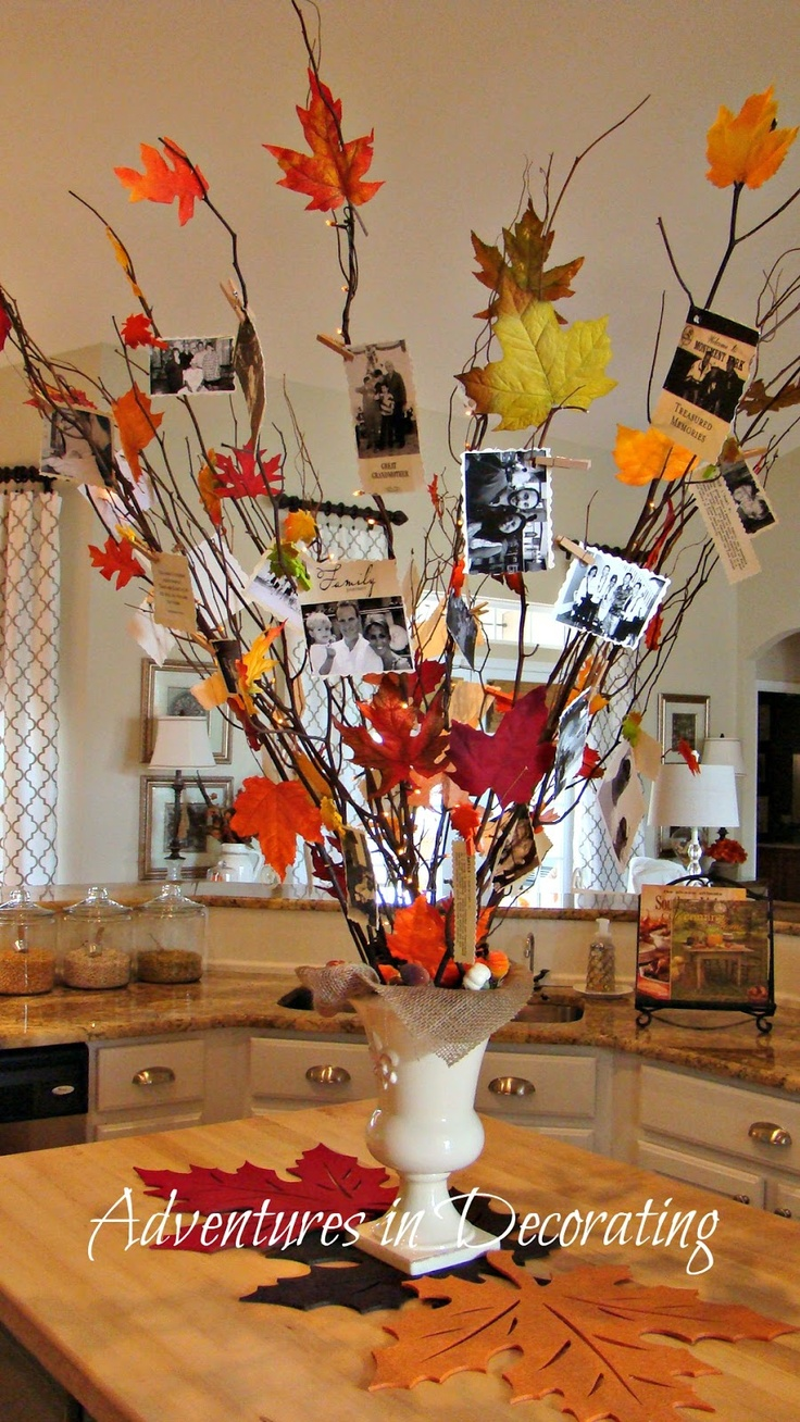 """I really like the fall """"thankful tree"""" here.  mixture of lit and unlit branches, with leaves attached. Clip pictures and sayings on...LOVE!"""