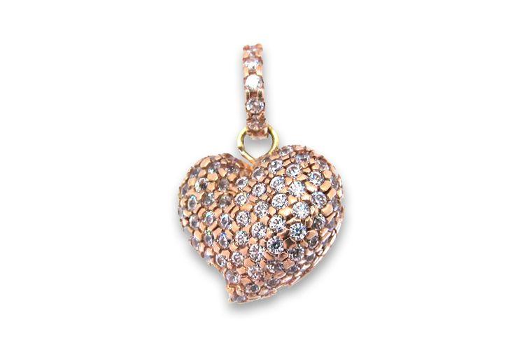 18 KARAT PINK GOLD AND DIAMOND HEART PENDANT.