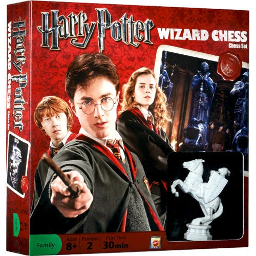 Harry Potter Wizard Chess Set: The classic game of chess gets a magical twist. The figures in Harry Potter Wizard Chess are detailed miniature replicas of the life-size figures Harry and Ron battle in the film, Harry Potter and the Sorcerer's Stone.  $39.99  http://calendars.com/Fantasy-Movies/Harry-Potter-Wizard-Chess-Set/prod201100010073/?categoryId=cat00068=cat00068#