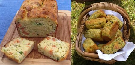 Courgette, Smoked Salmon and Chive Savoury Cake or Cake Salé| Sarah James | http://www.talesfromthekitchenshed.com