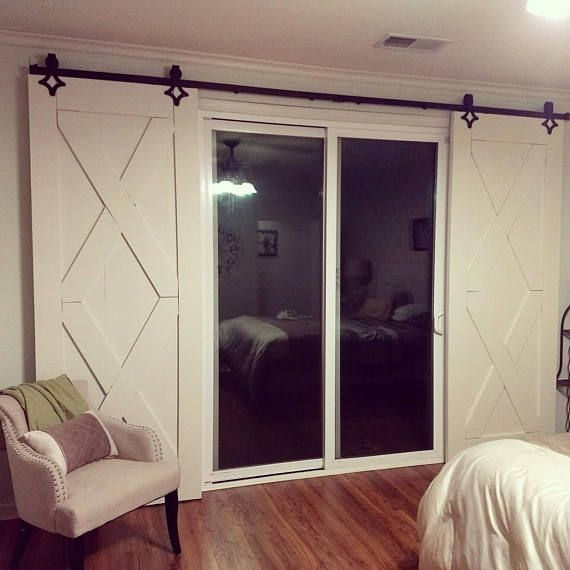 This Rustic Barn Door Is Made From Good Quality Pine Wood And Painted A Beautiful White Color Each Do Patio Door Coverings Door Coverings Glass Door Coverings