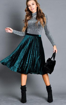 d62b969a4 Velvet Pleated Midi Skirt Dark Green By LILY LULU FASHION în 2019 ...