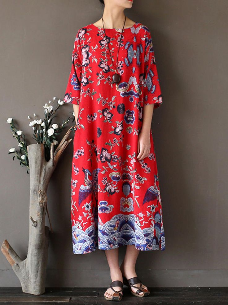 Only US$25.99 shop random printed midi dress at Banggood.com. Buy fashion floral dresses online. - Banggood Mobile