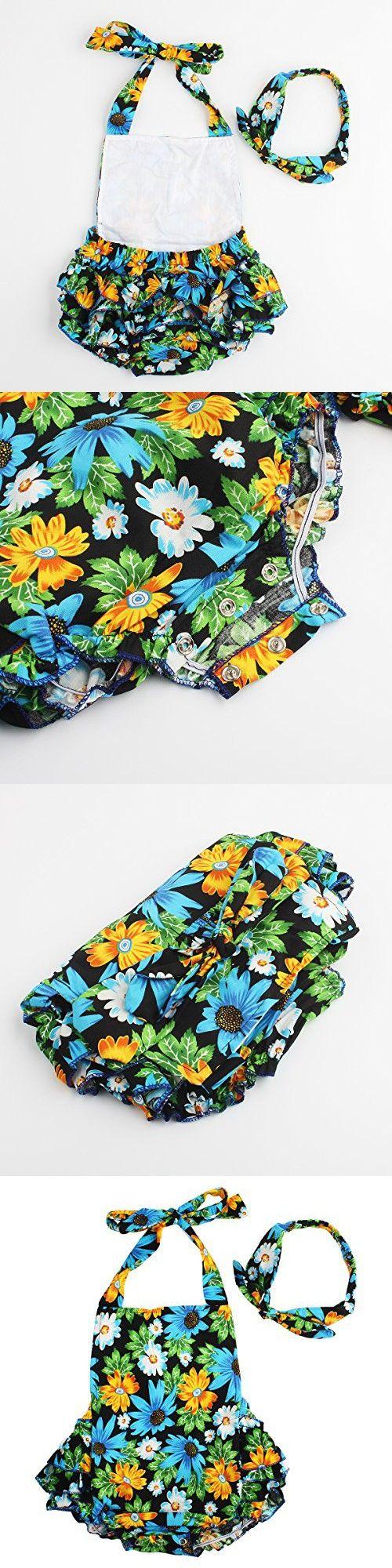 Baby Girls 2pcs Sets Cotton Ruffles Romper Outfits Clothes (L:24Months, Blue Chrysanthemum)
