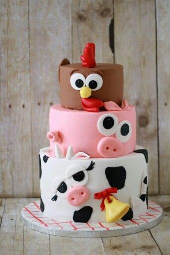 Animal cake. Cow, pig chicken cake