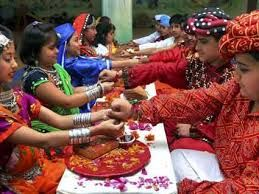 The Raksha Bandhan festival celebrates the relationship between brothers and sisters and is marked by the tying of a Rakhi by the sister on the wrist of her brother