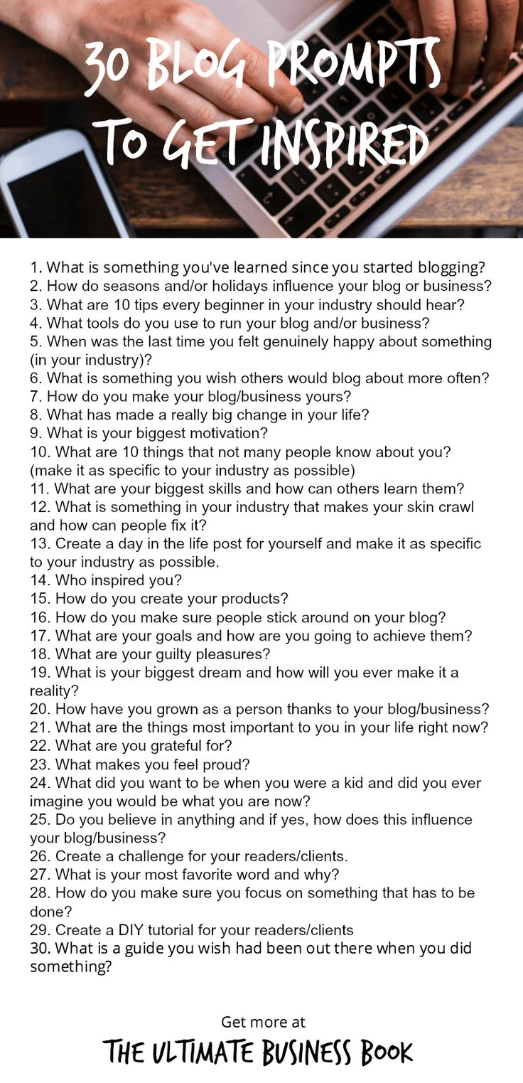 When you're not inspired to write, here are 31 ideas to get you started.