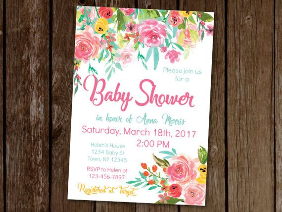Floral Baby Shower Invitation, Colorful Baby Shower Invite, Summer Baby Shower, Garden Party Invitation