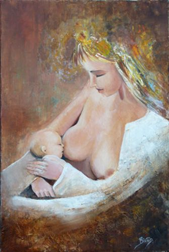 Allaitement 3 Tableau de Bivan artiste peintre http://bivan.net