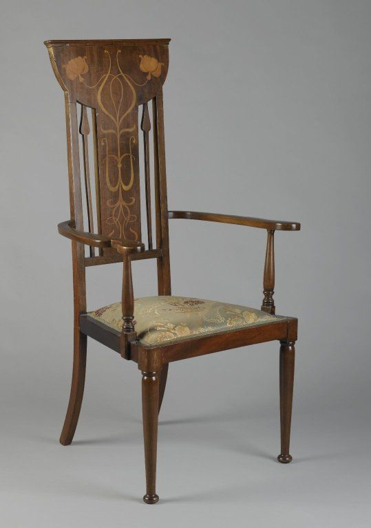 Art Nouveau Armchair. Mahogany with Fruitwood Marquetry Inlays and Upholstered Seat. England. Circa 1900.