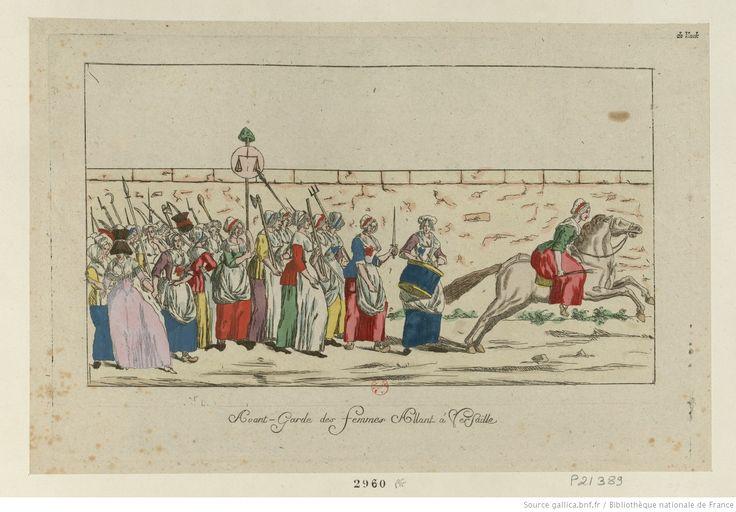 Vanguardia de las mujeres en marcha a Versalles, 1789. Biblioteca Nacional de Francia.
