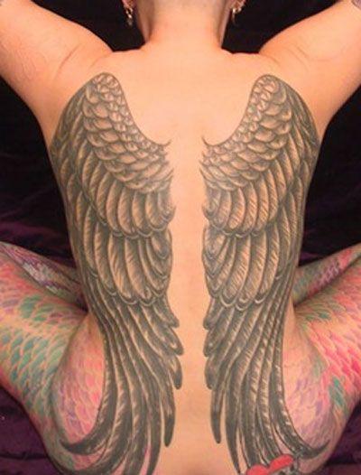 Full back angel wing tattoos design idea tattoo for Angel wings girl tattoos