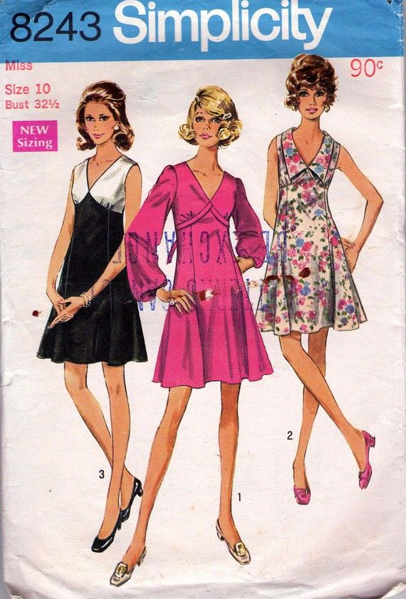 60s Vintage Sewing pattern Simplicity 8243 by allthepreciousthings,
