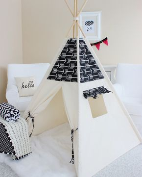 Arrows Bekko Natural Canvas Play Tent Teepee Playhouse with Roll Up Flap Window by AshleyGabby on Etsy https://www.etsy.com/listing/219976666/arrows-bekko-natural-canvas-play-tent