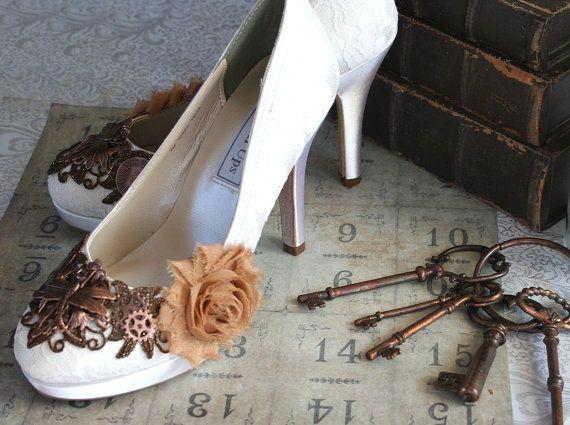Steampunk Victorian Wedding Shoes Copper Dress Hai