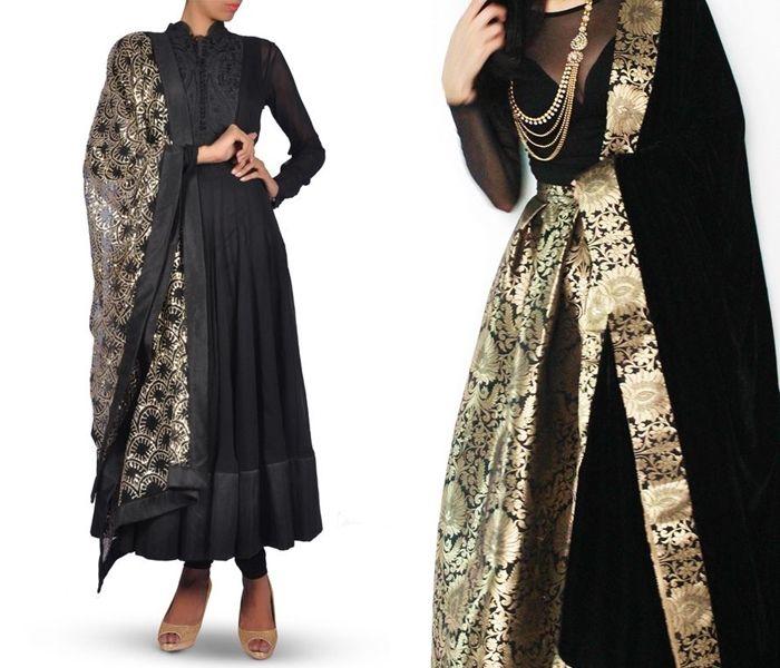 Simple plain indian suit with heavy dupatta