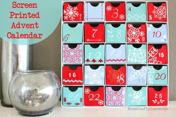 Screen Printed Advent Calendar ~ Mom's Crafty Space #MarthaStewart #MichaelsStores
