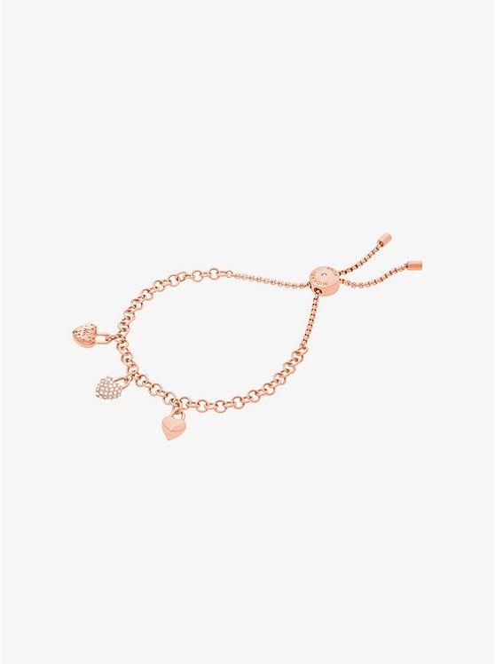 e3e5d56903434 Rose Gold-Tone Heart Charm Slider Bracelet preview0