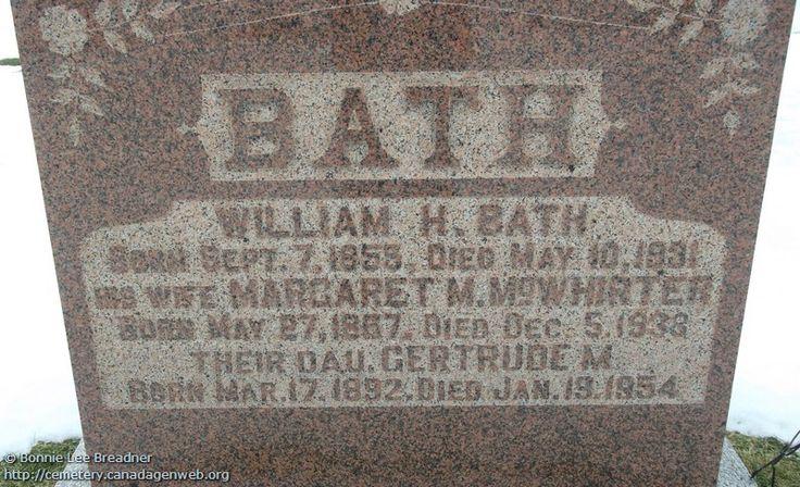 ON: Thornbury & Clarksburg Union Cemetery (Margaret M McWHIRTER), CanadaGenWeb's Cemetery Project