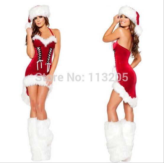 Новый! Мисс дед мороз костюм рождество дамы рождественские костюмы, Для взрослых фэнтези маскарадный костюм санта-клауса для женщин