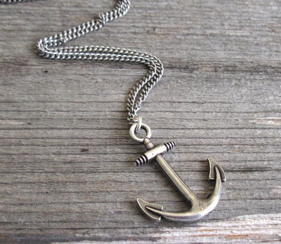 Men's Necklace Silver Plated Anchor Pendant Mens by Galismens
