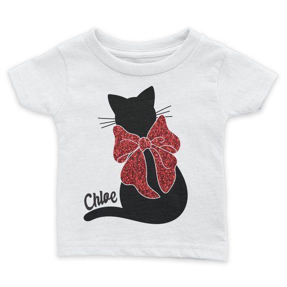 508f65cba Cat Personalized Christmas Bow Tshirt | Custom Christmas Tee | Girls Christmas  Shirt | Cat Shirt | Sparkle | Girls Holiday Shirt | Glitter
