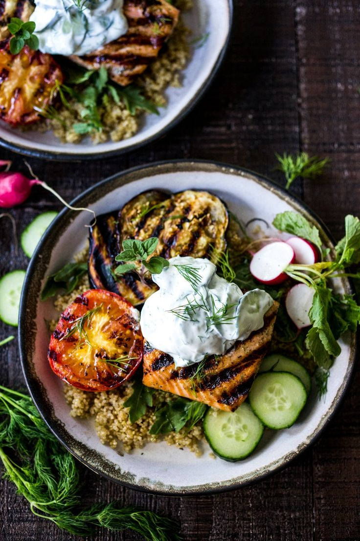 Grilled Salmon Tzatziki Bowl: a fast and delicious weeknight meal loaded up with healthy veggies | www.feastingathome.com