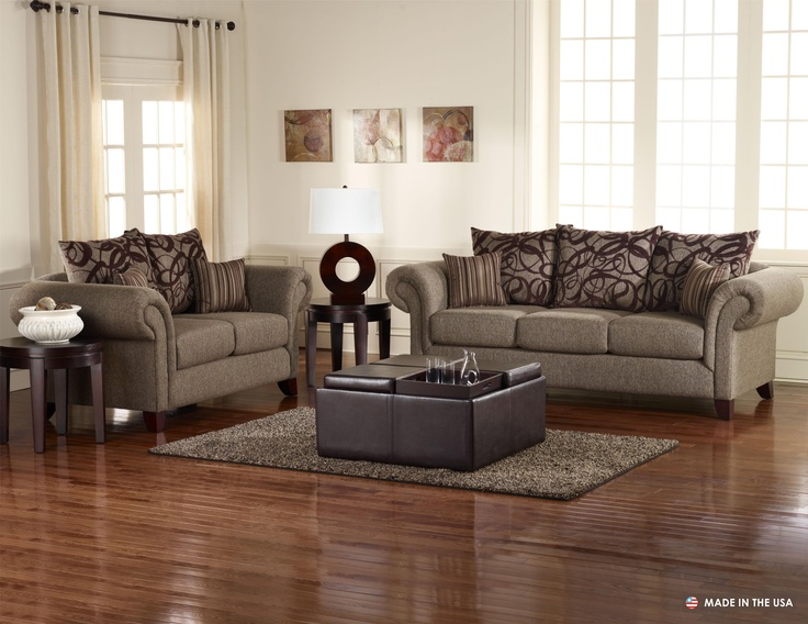 Auburn Transitional Brown Marble Sofa with Rolled Arms and Pillow Back    Coaster - Sofa and Loveseat Only