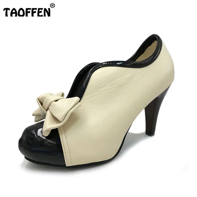 Discount Today $19.98, Buy Women High Heel Shoes New Sexy Lady Beige Bow Vintage Bowknot Pumps Platform Round Toe Ladies H023 Size 35-43