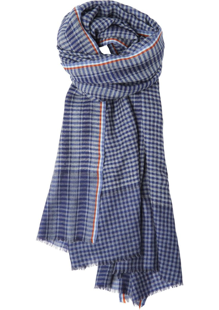 Women's Navy Wool Gingham Check Scarf | Toast