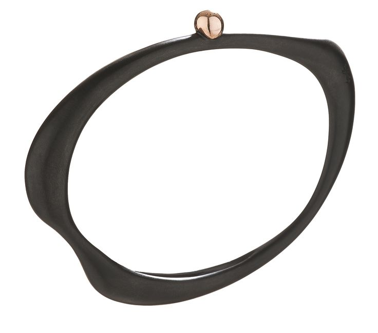 Oval #bracelet in #black #plated #silver and #rose #gold - #Fluidity #Collection   www.huffyjewels.com