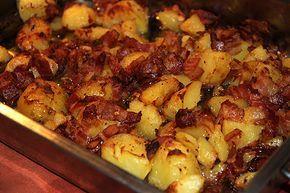 Bacon och potatis, ugnsgratinerat och knaprigt tillbehör –