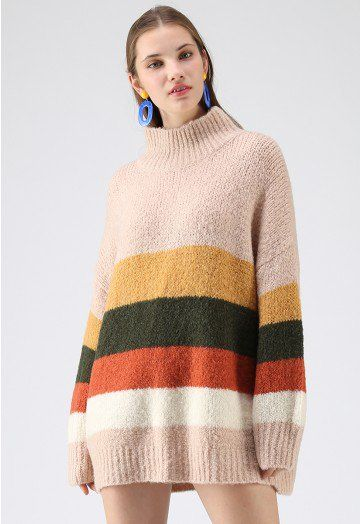 0a45fde914 Chasing The Rainbow Turtleneck Sweater Dress in Dusty Pink - Retro ...