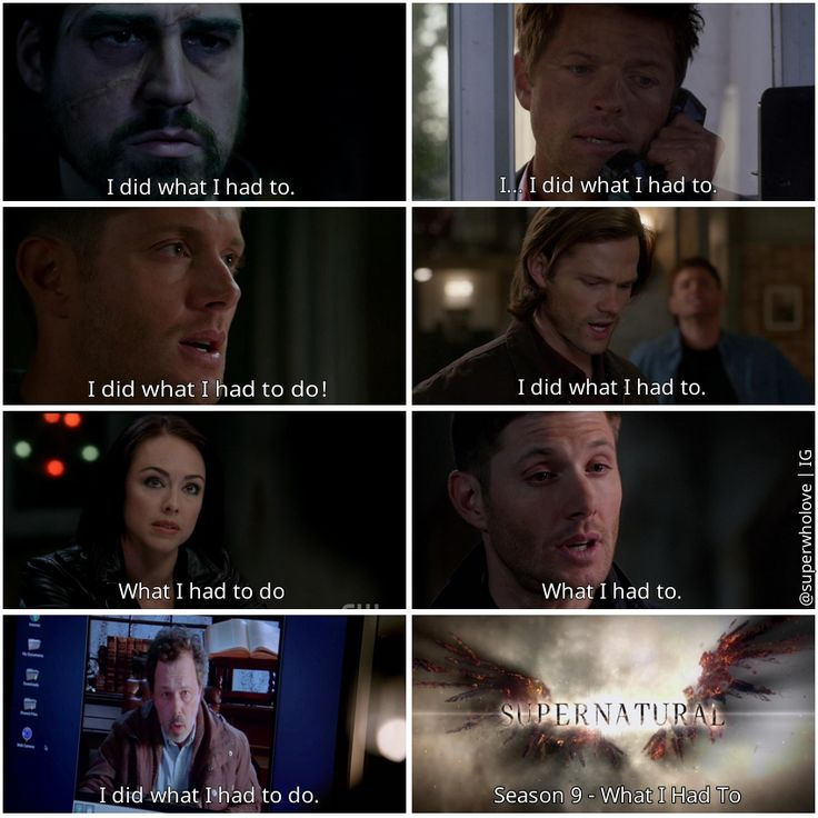 """9x09 Holy Terror / 9x22 Stairway To Heaven - """"What I had to"""" - repeated line theme - Theo, Castiel, Dean Winchester, Gadreel, Tessa, Metatron, Supernatural edit by Karissa C"""