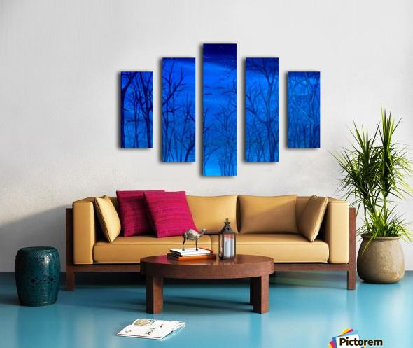 Winter, scene, forest, trees, sky, blue, fine art, oil painting, decor items, polyptych, 5 split, stretched, canvas, multi panel, prints, for sale
