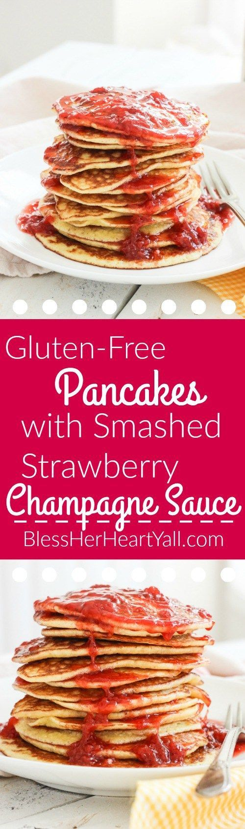 These gluten-free pancakes with smashed strawberry sauce recipe is one for the books!  The pancakes are light and fluffy (and yes, I promise are gluten-free!) with a touch of coconut's sweetness.  The smashed strawberry champagne sauce is a fun topper, with strawberries, lemon juice, and champagne caught up together in a thick, warm syrupy sauce to smother your pancakes in!  Breakfast is now the best meal of the day!