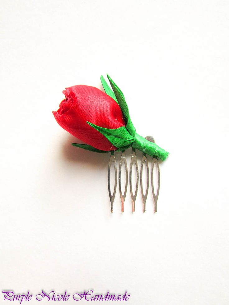 Classic Rose - Handmade Decorative Hair Comb by Purple Nicole (Nicole Cea Mov). Materials: green satin leaves and red satin rose, all handmade.
