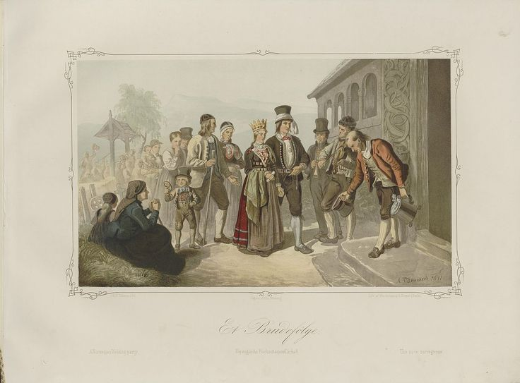 Norske Folkelivsbilleder - Adolph Tidemand - Et Brudefølge (1851). jpg (1280×946)