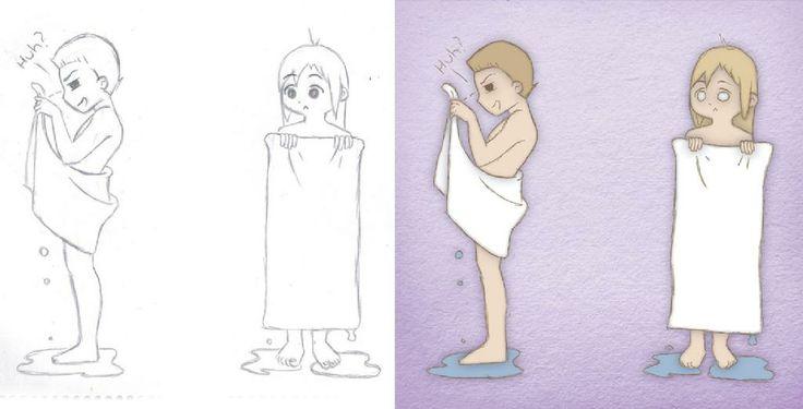 Book Illustration - Bath Towels   By Corinne Jade Shardlow