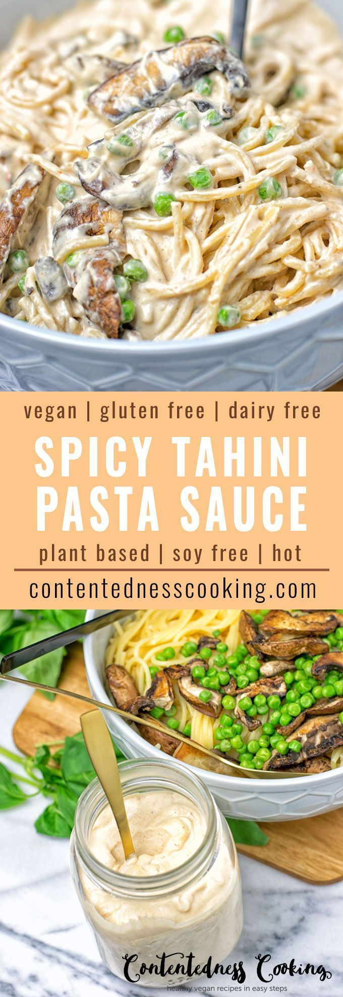 This Spicy Tahini Pasta Sauce requires only 4 ingredients for an incredibly easy lunch or dinner minus the peas