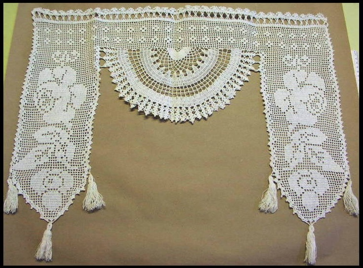 Antique Crocheted Cotton Lace Window Valance
