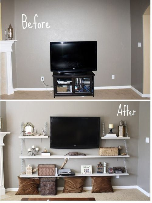 Floating shelves around TV to give it balance.   - note the shit on these shelves is beyond to messy just use boxes and flowers and shit