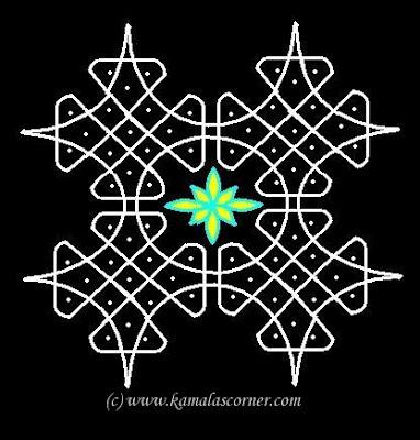 Rangoli patterns: Kolangal: 5 - 10 Dots Kolam
