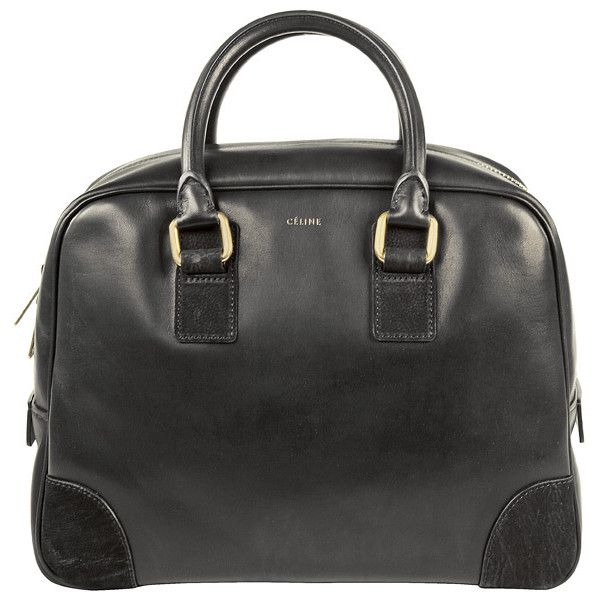 Celine Leather Bowling Bag (22 055 UAH) ❤ liked on Polyvore featuring bags, handbags, leather bowler bag, real leather bags, celine purse, bowler bags and genuine leather bags