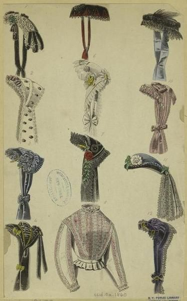 Fashion plate from 1860 featuring many bonnets and hats, and a blouse that makes me drool.