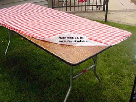 "Amazon.com: 30"" x 72"" Red & White Gingham Check Kwik Covers-6 Pack: would fit the common 6 ft tables like we have from Costco. [Set of 6, w/shipping = 6.23 ea] Also avail in 8 ft length (6 pk) http://amzn.com/B0096S0PE8 [Set of 6 w/shipping = 6.32 ea]"