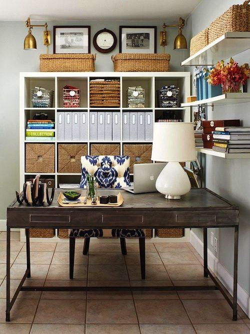 nice office - looks good, looks like expedit from ikea.