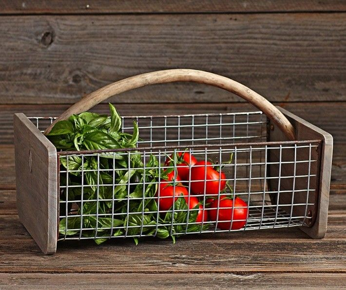 Seems like it wouldn't be hard to make a homemade version. Wood and wire garden collecting basket from Williams-Sonoma, Gardenista